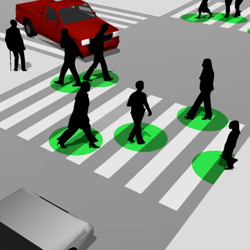 Zebra crossing that locates pedestrians