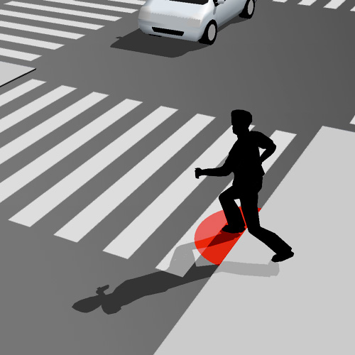 Zebra crossing that locates pedestrians
