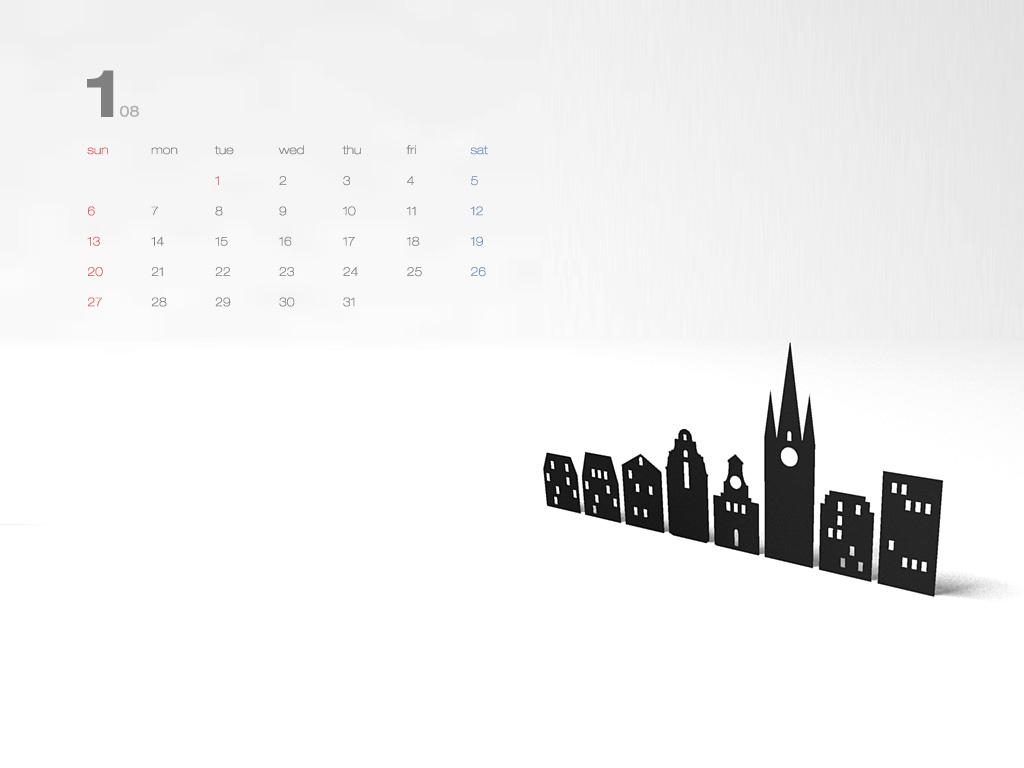 Desktop Calendar Wallpaper Creator : Desktop calendar wallpaper: january 08 mac funamizu design blog