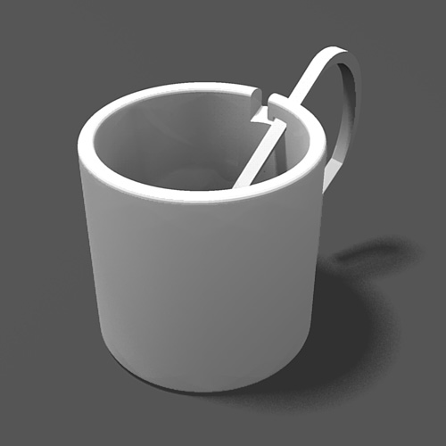 Tea Cup with Detachable handle(-cum-spoon)