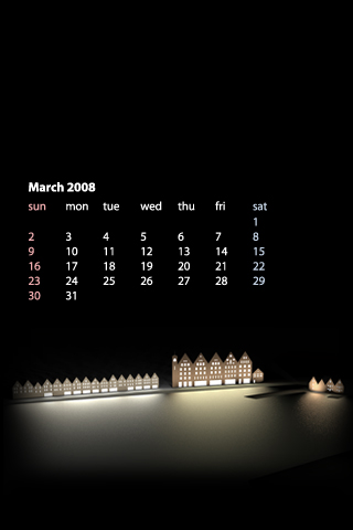 iPhone / iPod Touch Desktop Calendar Wallpaper for March 2008