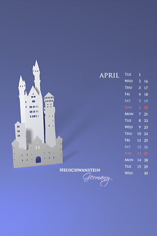 iPhone / iPod Touch Desktop Calendar Wallpapers for April 2008