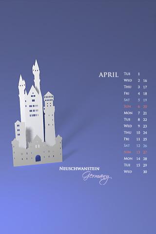 iPhone / iPod Touch Desktop Calendar Wallpapers for April 2008