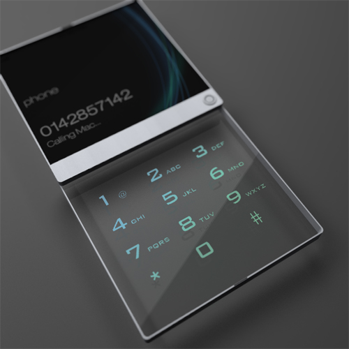 "Double layered transparent screen for a mobile phone would give a feeling of ""depth""."