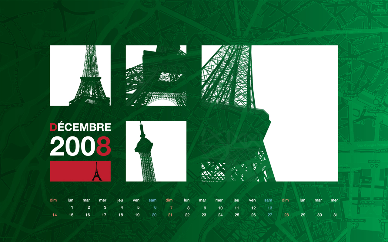 desktop calendar wallpaper december 2008 - eiffel tower