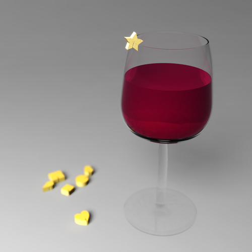 wine glass identifier made of cheese